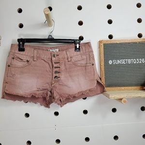 Free People Distressed Fringe Mini Shorts